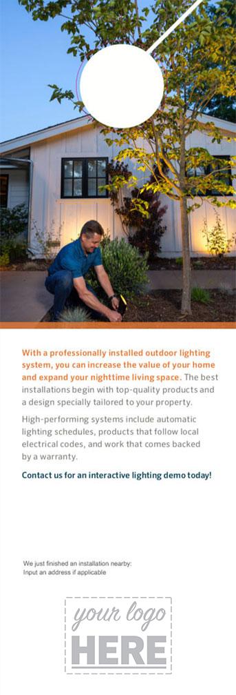 Landscape lighting contractor door hanger template